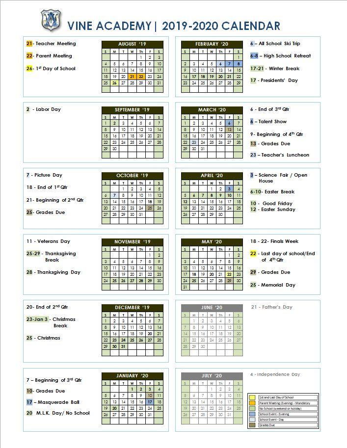 Presidents Day 2020 Calendar.2019 2020 Calendar At A Glance Vine Academy